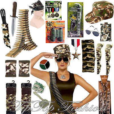 Army Ladies/mens Fancy Dress Costume Accessories Hen Stag Night Military • 7£