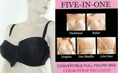 Nwt Gel Strip Support Clear Straps Smooth 5 Way Convertible Strapless Bra 36-46d • 7.66£