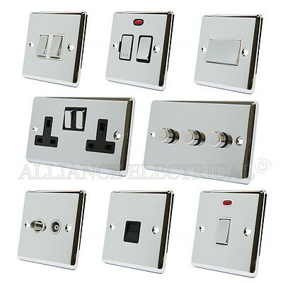 Full Range Polished Chrome Classical Sockets Switches Dimmers White Metal Rocker • 11.60£
