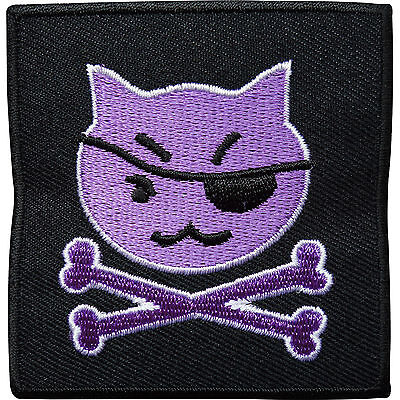 £2.79 • Buy Pirate Cat Skull Bones Embroidered Iron / Sew On Patch Clothes Badge Transfer