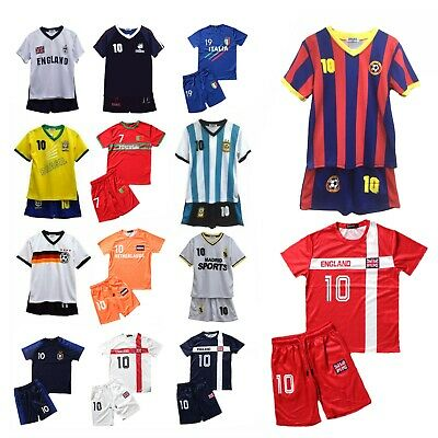 Football Kit T-Shirt Shorts Set Top Vest Summer New Boys Girls Size 2-14 Years • 7.99£