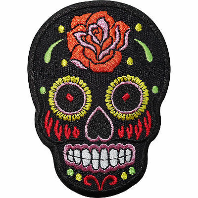 £2.79 • Buy Black Skull Rose Flower Embroidered Iron / Sew On Patch Clothes Badge Transfer