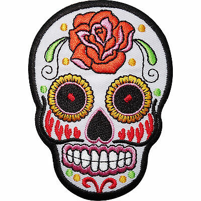 £2.79 • Buy White Skull Rose Flower Embroidered Iron / Sew On Patch Clothes Badge Transfer