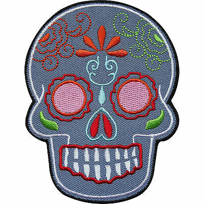 £2.79 • Buy Grey Floral Tattoo Skull Embroidered Iron / Sew On Clothes Patch Badge Transfer