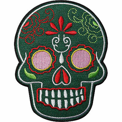 £2.79 • Buy Green Floral Tattoo Skull Embroidered Iron / Sew On Clothes Patch Badge Transfer