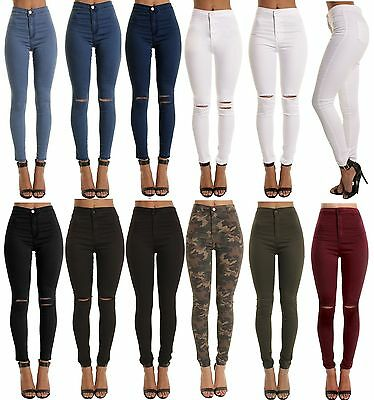 £11.50 • Buy Skinny High Waisted Jeans Jeggings Womens Slim Stretchy Full Length Pants S