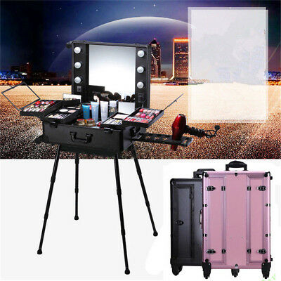 $196.77 • Buy Professional Rolling Studio Makeup Artist Cosmetic Case Lighted Station Table US