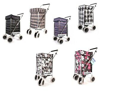 Shopping Trolley 6 Wheel Premium Cart Grocery Folding Market Laundry /  Spares  • 39.99£