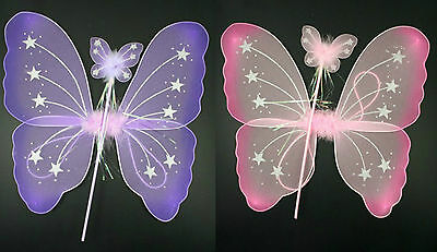 £4.99 • Buy Butterfly Fairy Wings And Wand Set Girls Fancy Dress Dressing Up Ladies Party