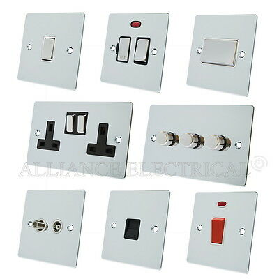 Full Range Polished Chrome Flat Sockets Switches Dimmers White Ins Metal Rocker • 11.60£