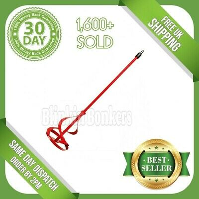 Red Drill Paint Pot Plaster Mixer Stirrer Mixing Mix Paddle Whisk Tool Hex 30d • 1.79£