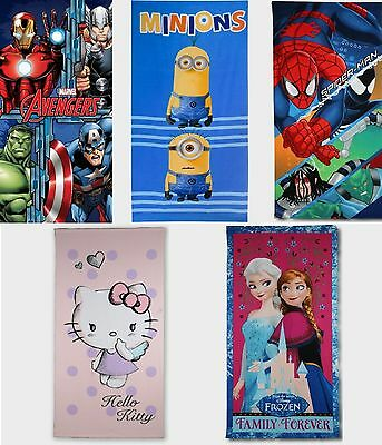 Kids Character Towels Hello Kitty Avengers Spiderman Minions Frozen Free P&p New • 9.99£