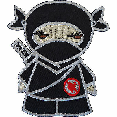 Black Ninja Girl Embroidered Iron / Sew On Patch Clothes Dress Skirt Shirt Badge • 2.79£