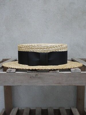 £110 • Buy Traditional Straw Boater By Olney Headwear - UK Made Boatman Hat – Black Band