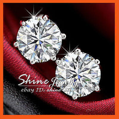 AU4.32 • Buy 18k White Gold Filled Round Simulated Diamond Gift Solid Mens Lady Stud Earrings