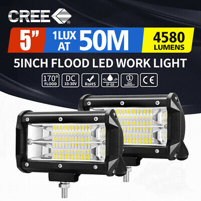 AU29.95 • Buy 2x 5inch Cree LED Work Light Bar Pods Flood Driving ATV TRUCK SUV OffRoad 4WD