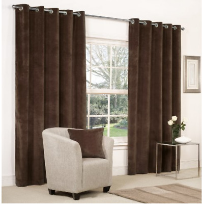 £19.99 • Buy CHENILLE HEAVY & THICK FULLY LINED CURTAINS RING TOP In  CHOCOLATE BROWN  Ex B&Q