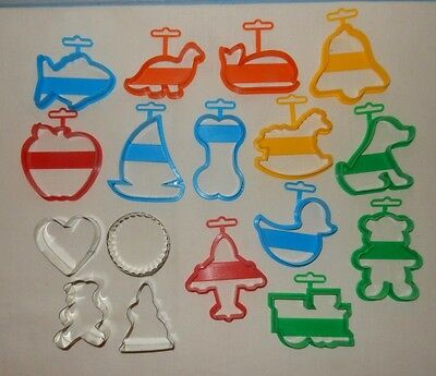 Lot Of 17 Cookie Cutters Heart Train Boat Fish Plane Bear Dinosaur Dog Apple • 13.61£