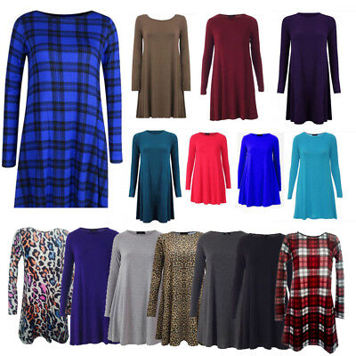 Ladies Women(Long)Sleeve Swing Dress Skater Party Top Dress Tunic Print T-shirt • 6.99£
