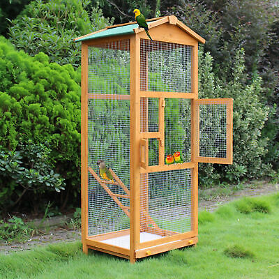 £86.99 • Buy Large Bird Wooden Cage House Pet Budgie Toy Canary Parakeet Aviary Home Partable