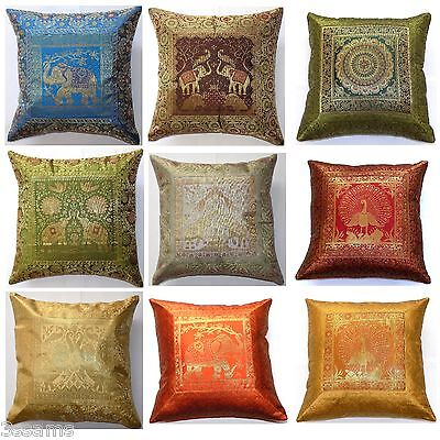 Cushion Cover 17x17  43cm Indian Silk Gold Brocade Animal Birds Tapestry Boho • 4.96£
