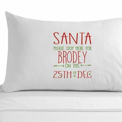 Personalised Santa Stop Here Pillow Case, Christmas Eve Accessories, Kids Gifts. • 11.99£