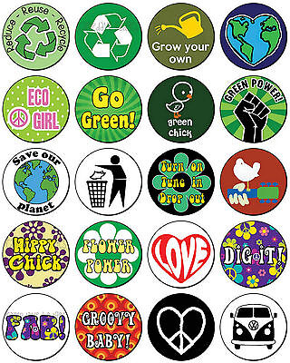 RECYCLE / PEACE / LOVE / HIPPY (Various Designs) Button Badge 25mm / 1 Inch • 0.99£