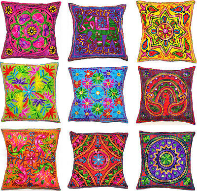 Zip Cushion Cover 16x16  40cm Indian MultiColour Embroidery Tapestry Animal Bird • 4.96£