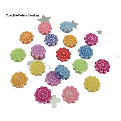 £1.99 • Buy 100 11mm Mixed Coloured Daisy Flower Shaped Acrylic Beads For Jewellery Making
