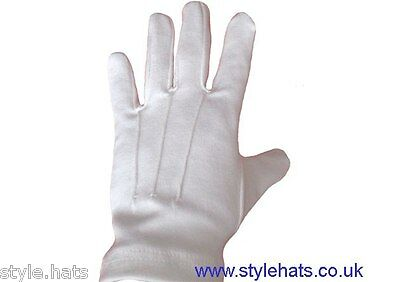$7.30 • Buy SALE High Quality Dress Gloves White Cotton Multi Purpose Ceremonial 3 Ribbed