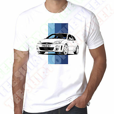 Personalisable Ford Focus Mk1 RS Mens 100% Cotton White T-shirt • 11.99£
