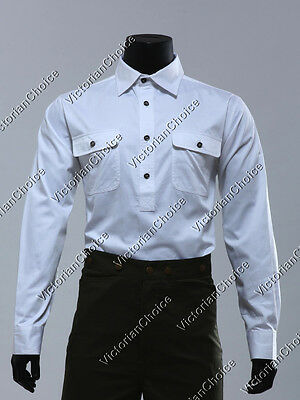 $57.99 • Buy Mens White 100% Cotton Frontier Western Cowboy Shirt Old West Top Theater BM202