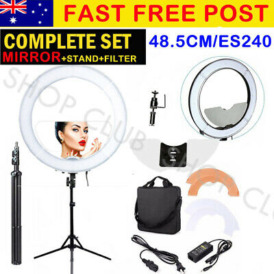 AU114.85 • Buy BEST 19  5900K Dimmable Diva LED Ring Light Diffuser MIRROR Stand Make Up Studio