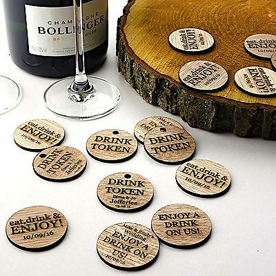 £11.99 • Buy Wooden Drink Tokens. Personalised Rustic Discs. Wedding Guest FavoursFree Drink