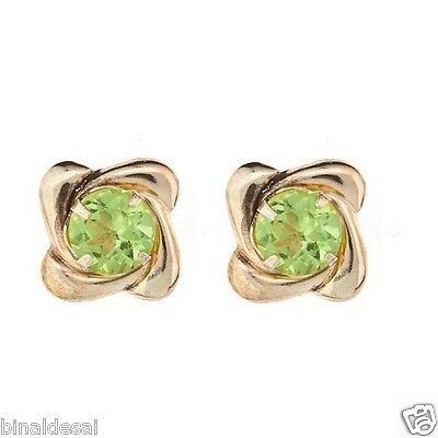 9ct Gold Large PERIDOT SQUARE SWIRL Studs Earrings Ladies Mothers X'mas GIFT BOX • 34.20£