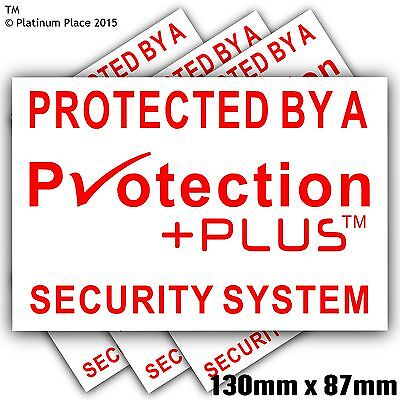 £3.49 • Buy 6 X 130mm Protection Plus™ Security Stickers-Alarm Warning Signs-Bell Box,Door