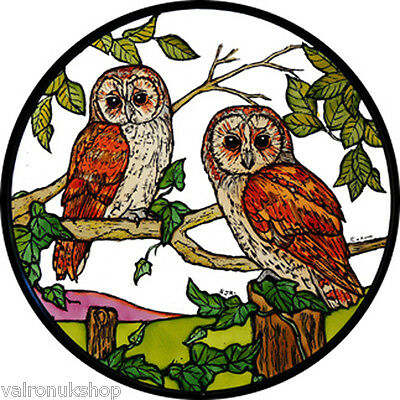 Stained Glass Window Art - Static Cling  Decoration - Barn Owls • 5.25£
