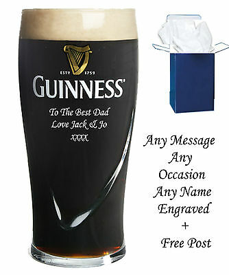 £17.99 • Buy Personalised Engraved Pint Branded Guinness Glass Birthday Gifts Boxed