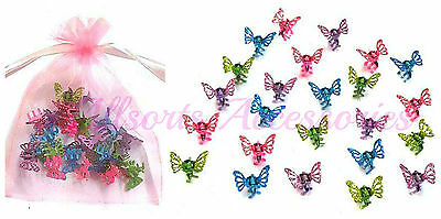 £4.25 • Buy 24 Mini Glitter Butterfly Hair Clamps Girls Hair Accessory Hair Grips Clips