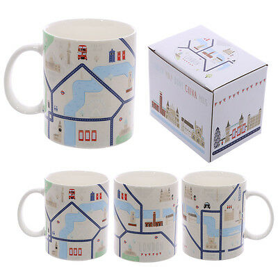 World Famous London Map Design  Bone China Mug -  Gift Boxed  - MUG198 • 6.49£