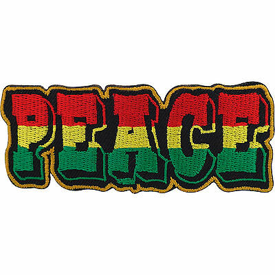 Embroidery Patch Rasta Peace Reggae Embroidered Badge Iron On / Sew On T Shirt • 2.79£