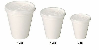 * White Polystyrene Tea/Coffee Takeaway Cups 7 - 10 -12oz Cups With Lids • 10.56£