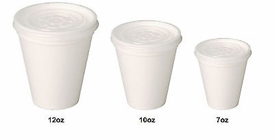 # White Polystyrene Tea/Coffee Takeaway Cups 7 - 10 -12oz Cups With Lids • 10.56£