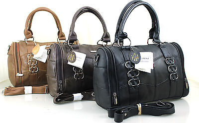 New Ladies Women Lorenz Cowhide Real Leather Bowling Shoulder Bag Handbag UK  • 21.99£