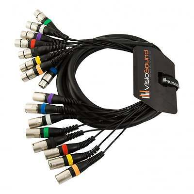 8-Way 3m Male XLR To Female XLR Balanced Loom / Effects Patch / Multicore Cable • 22.99£