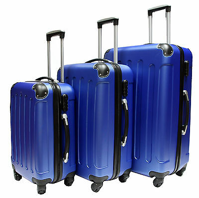 Hard Shell 4 Wheel Spinner Suitcase Luggage Case Trolley Cabin Carry On PC BLUE • 32.99£