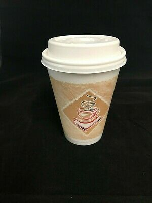 #  12oz Printed DART Cafe CUP Insulated Polystyrene Foam And Lid Option.   • 13.74£