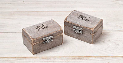 £19.63 • Buy His And Hers Ring Bearer Boxes, Ring Holder, Wedding Ring Bearer Pillow Box