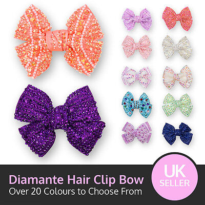 Small Crystal Bow Sparking Diamante Encrusted Hair Clip Grip Pink Red Silver + • 2.25£