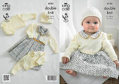King Cole 4153 Knitting Pattern Cropped Cardigans, Cropped Top And Hat • 3.89£